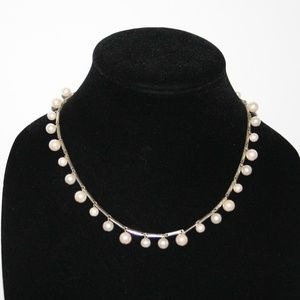 """Vintage silver and pearl toggle necklace 18"""""""